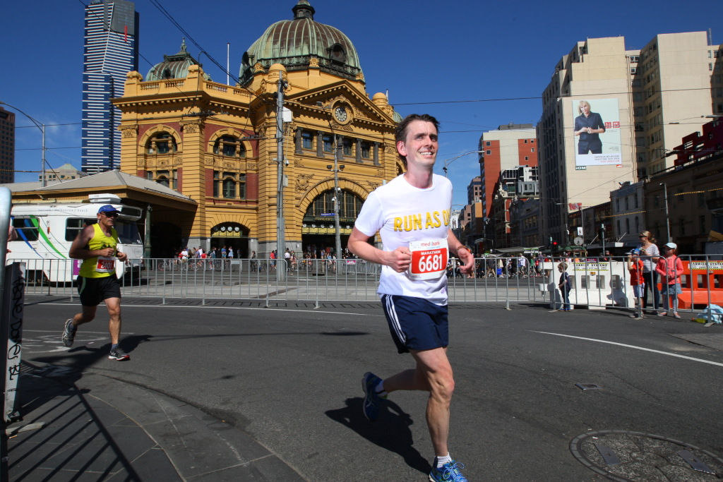 Into the last km of the Melbourne Marathon