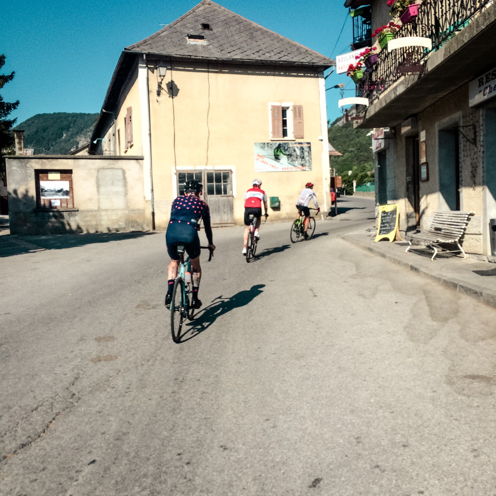Freewheeling through a town in the Alps