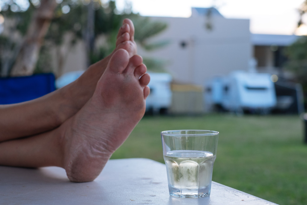 Bare-feet and wine