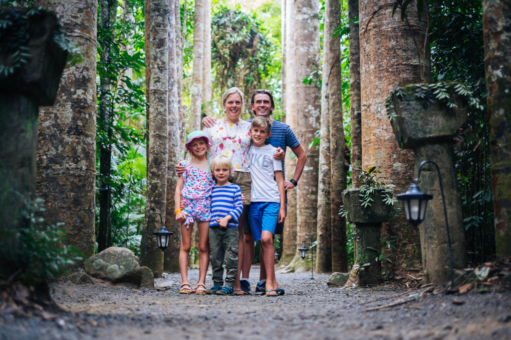 Family photo among the Kauri Pines at Paronella Park